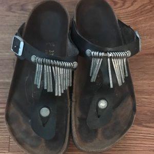 Birkenstock Metal Fringe Sandals Shoes Size 37 / 6